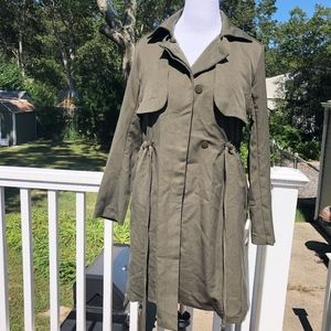 NWOT JUSTFAB Olive Green Trench Coat